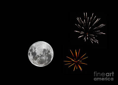A Composite Image With Fireworks Art Print