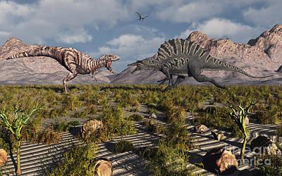 A Confrontation Between A T. Rex Art Print by Mark Stevenson