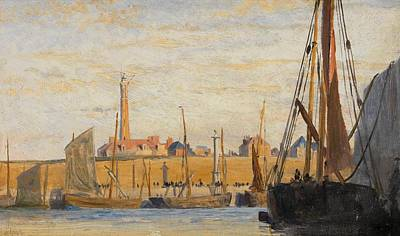 Deep Blue Painting - A Continental Harbor by William Lionel Wyllie