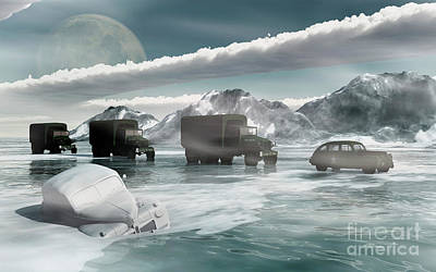 Cold Temperature Digital Art - A Convoy Of Military Vehicles Traveling by Mark Stevenson