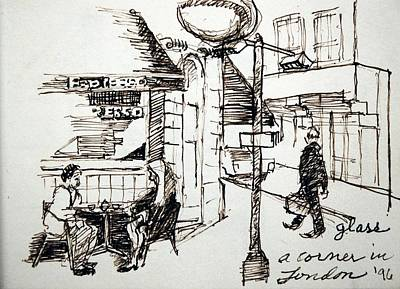 Streetscape Drawing - A Corner In London by Lester Glass