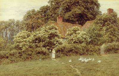 Mother Goose Painting - A Cottage At Farringford Isle Of Wight by Helen Allingham