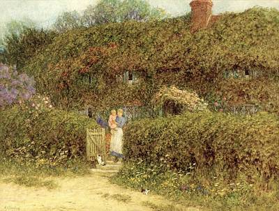 Vines Painting - A Cottage At Freshwater Isle Of Wight by Helen Allingham