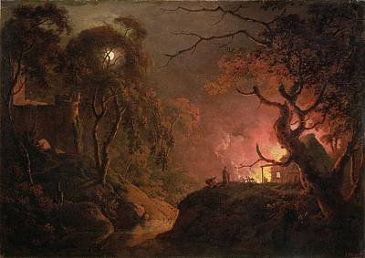 Joseph Photograph - A Cottage On Fire At Night by Joseph Wright of Derby