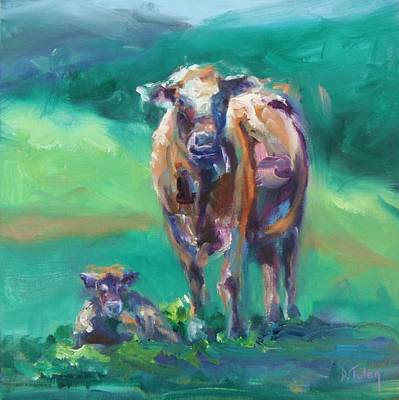 Caricature Artist Painting - A Cow And Her Calf by Donna Tuten