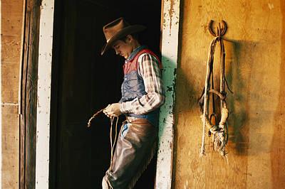 A Cowboy Braids A Lariat Art Print