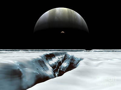 Jovian Digital Art - A Crescent Jupiter And Volcanic by Walter Myers