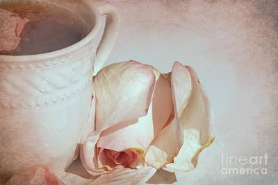 Cup Of Tea Photograph - A Cup Of Tea And A Rose by Sophie Vigneault
