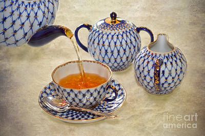 Pour Digital Art - A Cup Of Tea Tea Being Poured Into A China Cup by Louise Heusinkveld