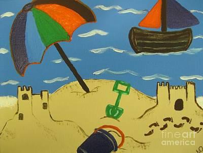 A Day At The Beach Print by Eva  Dunham