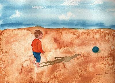 Kids Playing In Sand Painting - A Day At The Beach by Laura Scott