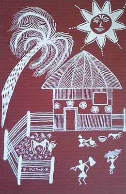 Warli Painting - A Day In Warli by Samiksha Jain