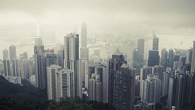 A Daytime City Skyline In Hong Kong Art Print