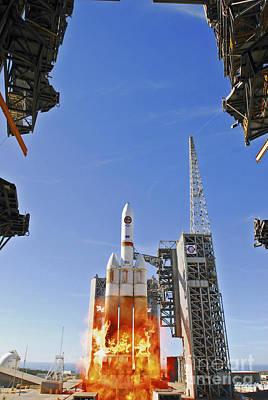 A Delta Iv Heavy Launch Vehicle Art Print