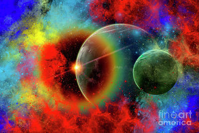 Sun Rays Digital Art - A Distant Alien World And Its Moon by Mark Stevenson