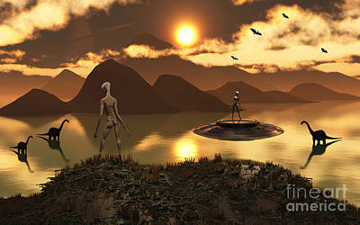 Extraterrestrial Existence Digital Art - A Distant Alien World Where Reptoids by Mark Stevenson