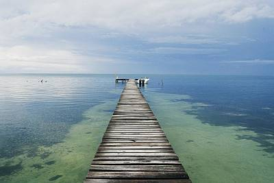 Docks Etc Photograph - A Dock Leading To The Horizon In Cay by Skip Brown