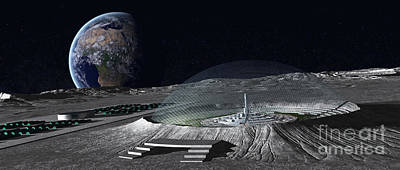 Utopia Digital Art - A Domed Crater Is Home To A Lunar City by Frieso Hoevelkamp