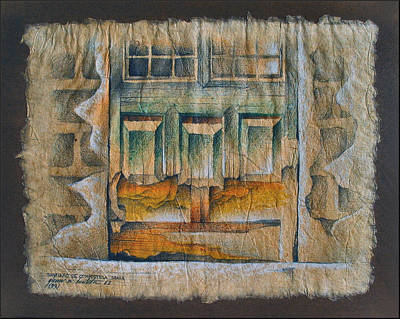 Drawing - A Door In Compostela1982 by Glenn Bautista