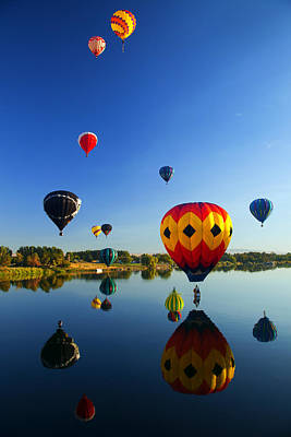 Balloons Photograph - A Dozen  Reflected by Mike  Dawson