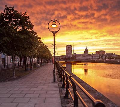 A Dublin Sunset Art Print by Brendan O Neill