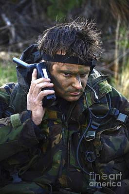 A Dutch Patrol Commander Communicates Art Print by Andrew Chittock