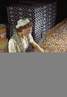 A Factory Worker Sorts Through Candy Art Print