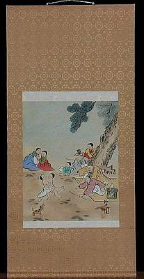 Wrestle Painting - A Families Relaxing And Playing  While The Boys Wrestle by Chirachoha
