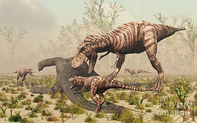 Carcass Digital Art - A Family Of T. Rex Dinosaurs Feed by Mark Stevenson