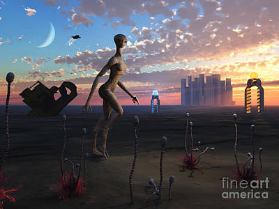 Extraterrestrial Existence Digital Art - A Female Reptoid Being Takes An Evening by Mark Stevenson
