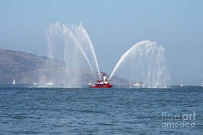 Fireboat Photograph - A Fire Boat by Ted Kinsman