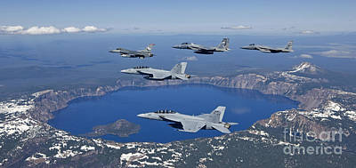 A Five Ship Aircraft Formation Flies Art Print by HIGH-G Productions