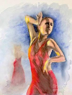 Art Print featuring the painting A Flamenco Dancer  2 by Yoshiko Mishina