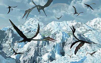 Flock Of Bird Digital Art - A Flock Of Giant Quetzalcoatlus by Mark Stevenson