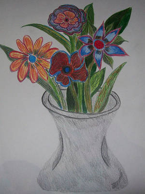 Daisy Drawing - A Flower's Whimsy by Laurie Gibson