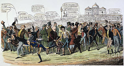 A Foot Race: Cartoon, 1824 Art Print by Granger
