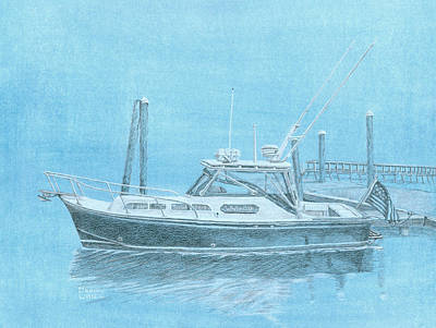 Painting - A Fortier Docked In Maine by Dominic White
