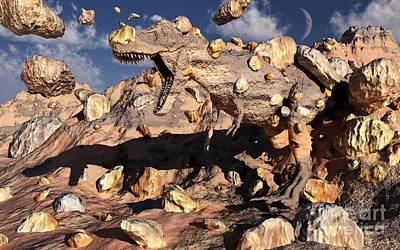 Prehistoric Digital Art - A Fossilized T. Rex Bursts To Life by Mark Stevenson