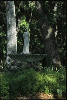 A Fountain Bird Bath On The Saint Art Print by Raymond Gehman