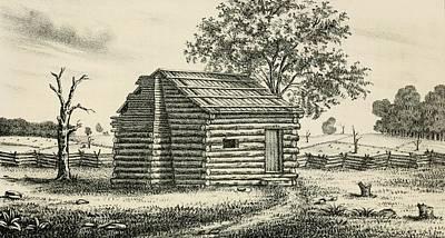 A Frontier Presbyterian Church. The Log Art Print by Everett