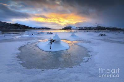 Sunset In Norway Photograph - A Frozen Fjord That Is Part by Arild Heitmann