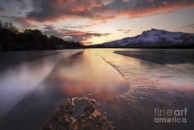 Sunset In Norway Photograph - A Frozen Straumen Lake On Tjeldoya by Arild Heitmann
