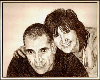 Candid Drawing - A Fun Couple by Sheryl Brandes