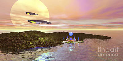 A Futuristic World On Another Planet Art Print by Corey Ford
