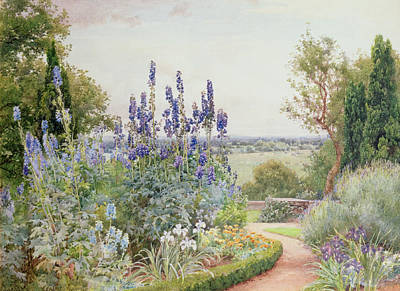 Delphinium Painting - A Garden Near The Thames by Alfred Parsons