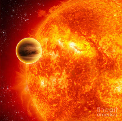 Exoplanet Digital Art - A Gas-giant Exoplanet Transiting by Stocktrek Images