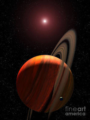 Circling Digital Art - A Gas Giant Planet Orbiting A Red Dwarf by Stocktrek Images