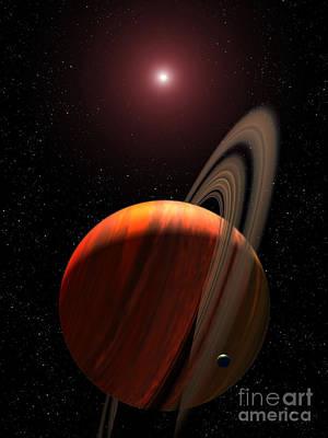 A Gas Giant Planet Orbiting A Red Dwarf Art Print