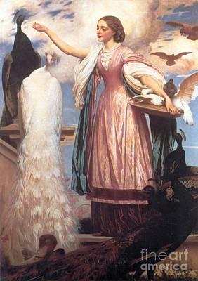 A Girl Feeding Peacocks Art Print by Frederic Leighton