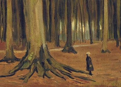 Girl In Landscape Painting - A Girl In A Wood by Vincent van Gogh